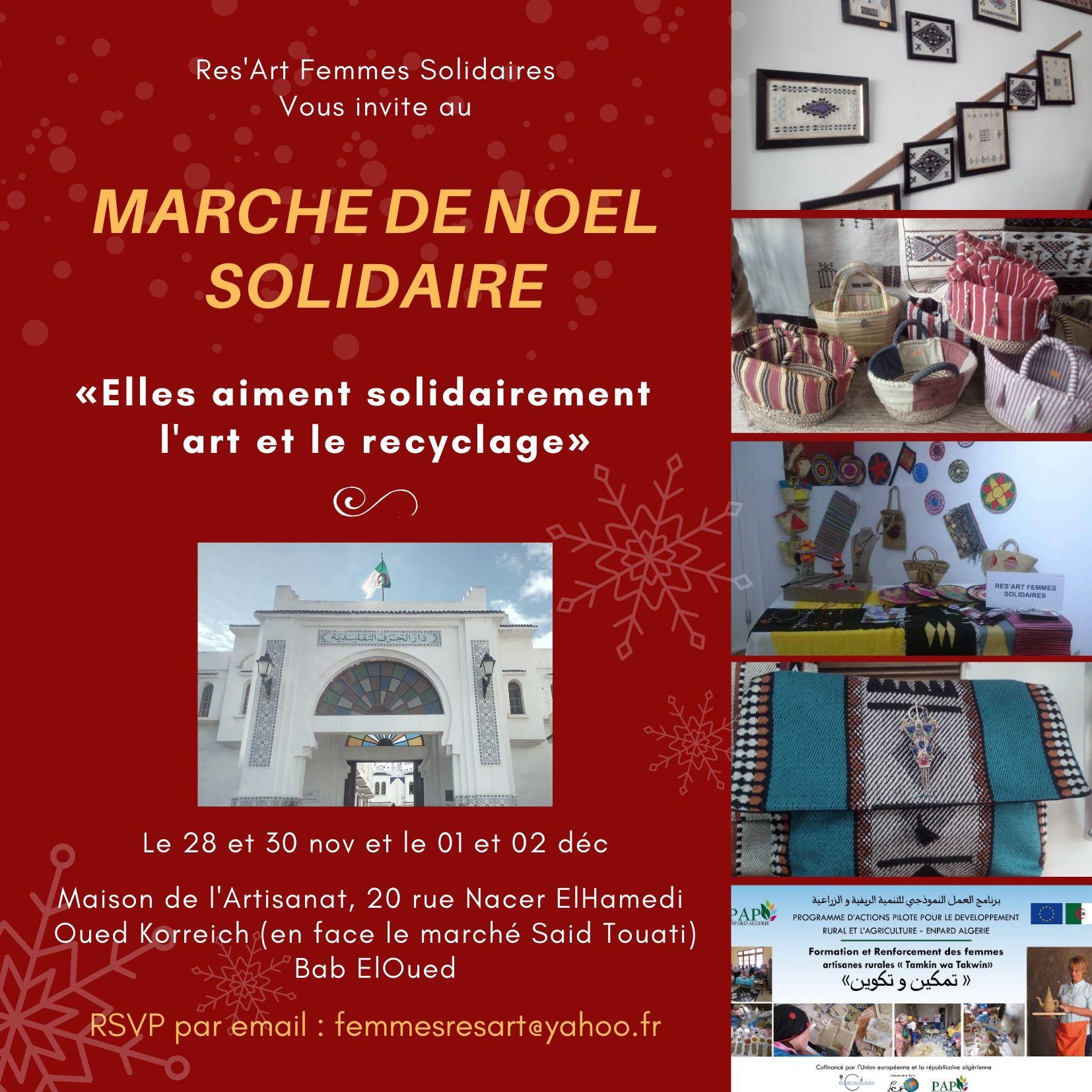 """Res'Art organise le """"Marché de Noël"""" à la Maison de l'Artisanat de Bab El Oued"""