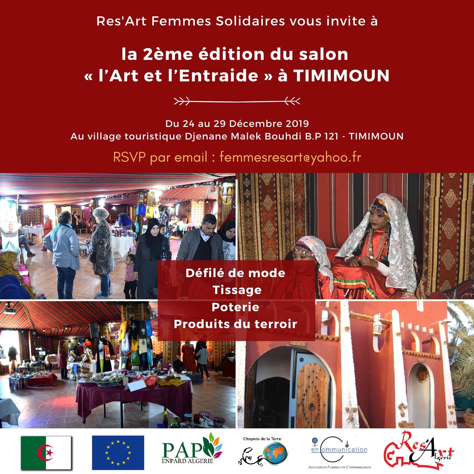 Res'Art organise la deuxième édition du salon «l'Art et l'Entraide» à TIMIMOUN